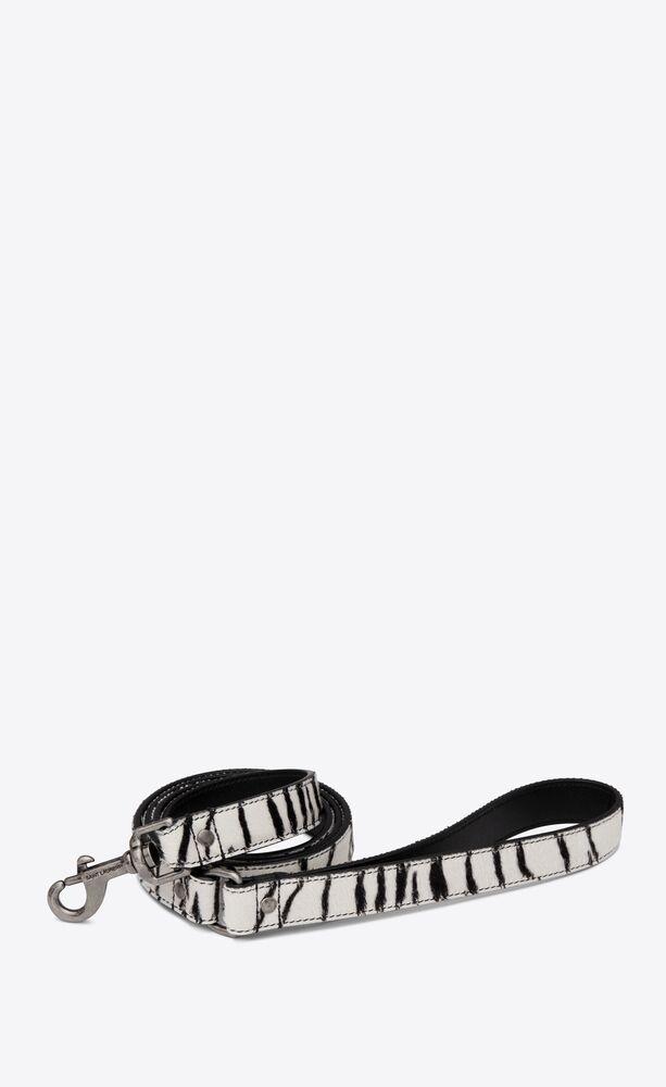 dog leash in ponyskin-look leather with a zebra print