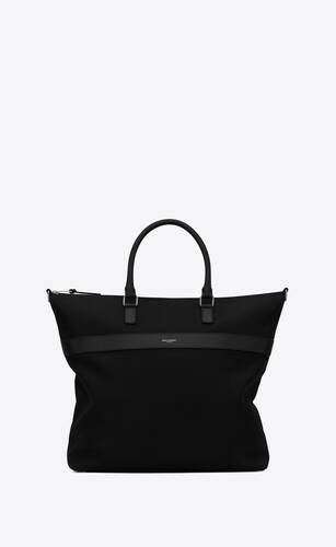 city shopping bag in canvas and leather