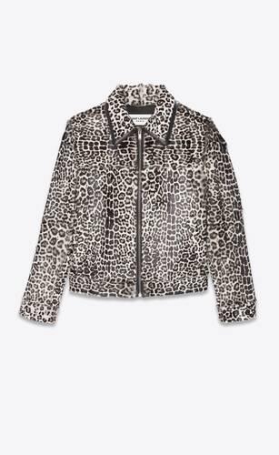 jacket in leopard-printed fur