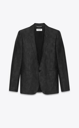 veste tailleur en laine et jacquard de soie à motif parasols