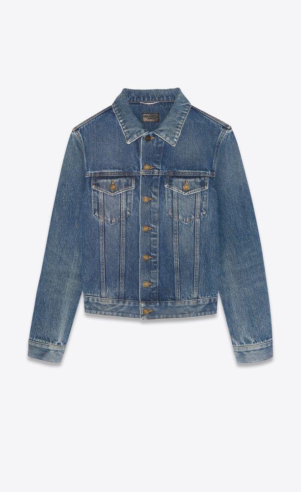 veste ajustée en denim medium ice blue