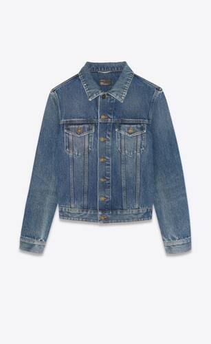 fitted jacket in medium ice blue denim