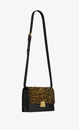 bellechasse saint laurent medium in leopard-print suede and smooth leather