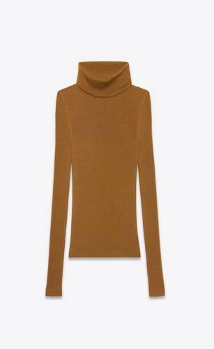 pull col roulé côtelé en cachemire, laine et soie