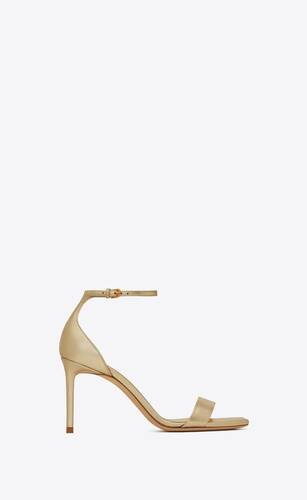 amber sandals in metallic leather