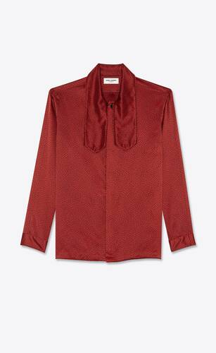 spotted lavallière-neck shirt in silk satin