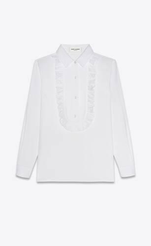 frilled bib blouse in poplin cotton