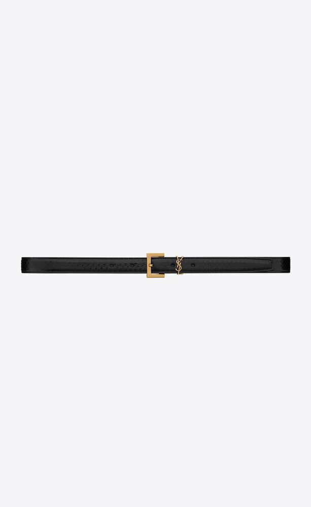 monogram thin belt with square buckle in lacquered ayers