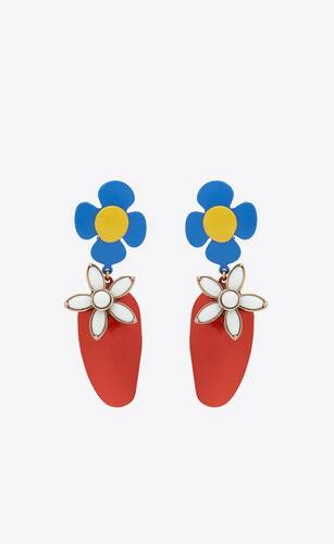 flower and strawberry pendant earrings in metal, enamel and resin