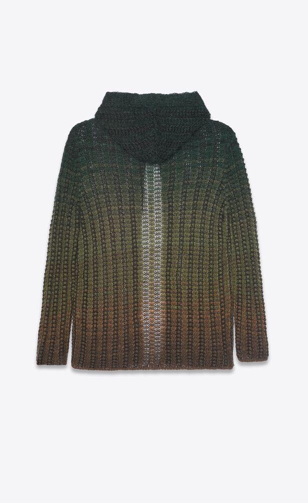 baja cardigan hoodie in striped dégradé knit crochet