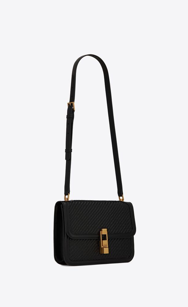 le carré satchel in smooth and woven leather