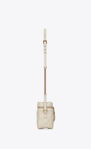 bolso pequeño 80's vanity de piel repujada grain de poudre acolchada con motivo cuadrado