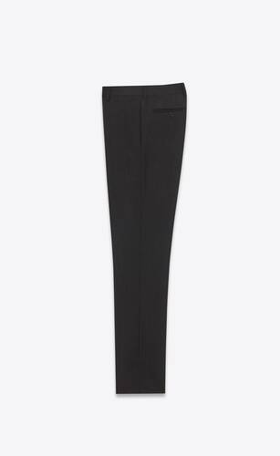 low-rise slim-fit pants in raised stripe mohair and wool