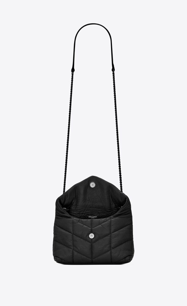 puffer toy bag in quilted wrinkled matte leather