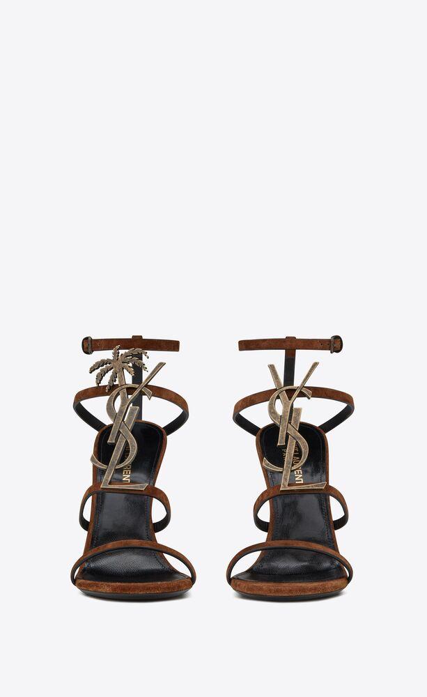 sandali cassandra in suede con monogramma di palma dorata
