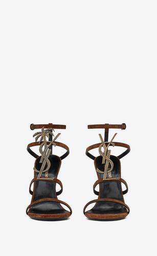 cassandra sandals in suede with officer gold-tone palm monogram