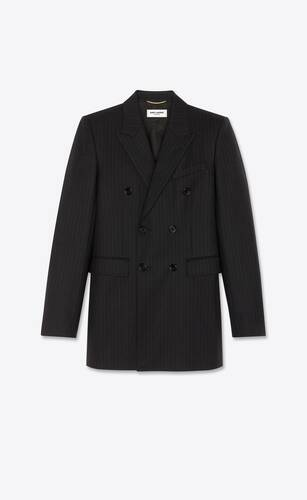 oversized double-breasted jacket in chalk-striped twill