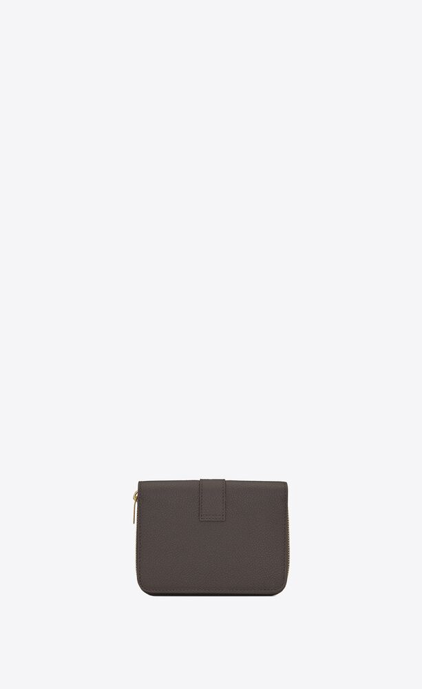ysl line compact zippered wallet in grained leather
