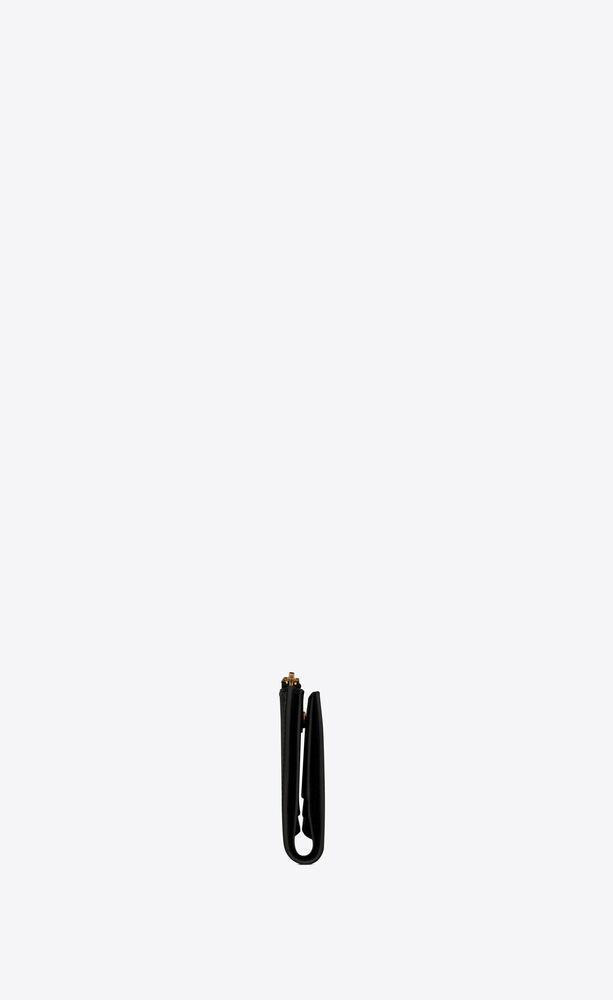 tiny monogram kartenetui mit reißverschluss aus leder mit krokoprägung
