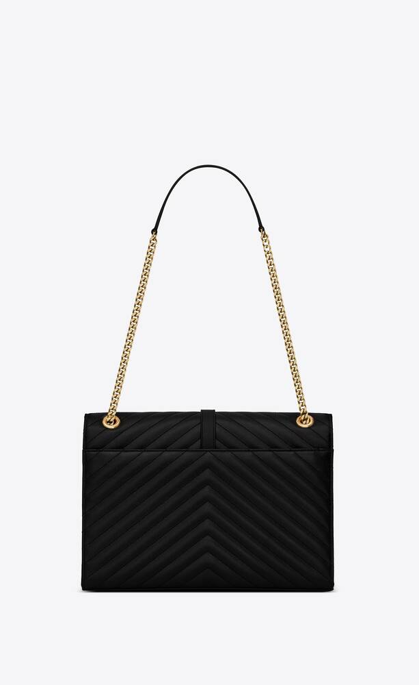 envelope large bag in quilted grain de poudre embossed leather