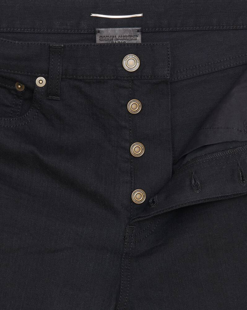 slim-fit jeans in worn black stretch denim