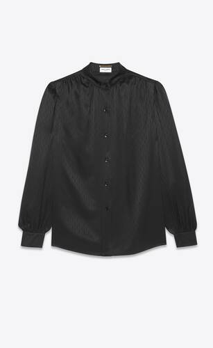 blouse in matte and shiny monogram silk