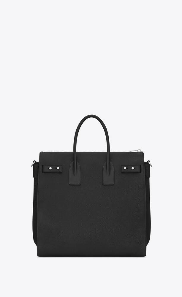 weicher north/south sac de jour shopper aus schwarzem narbenleder