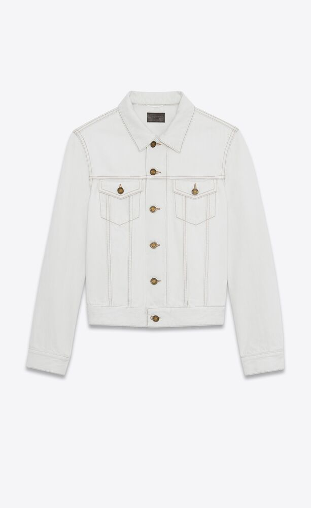 fitted jacket in gray off-white denim