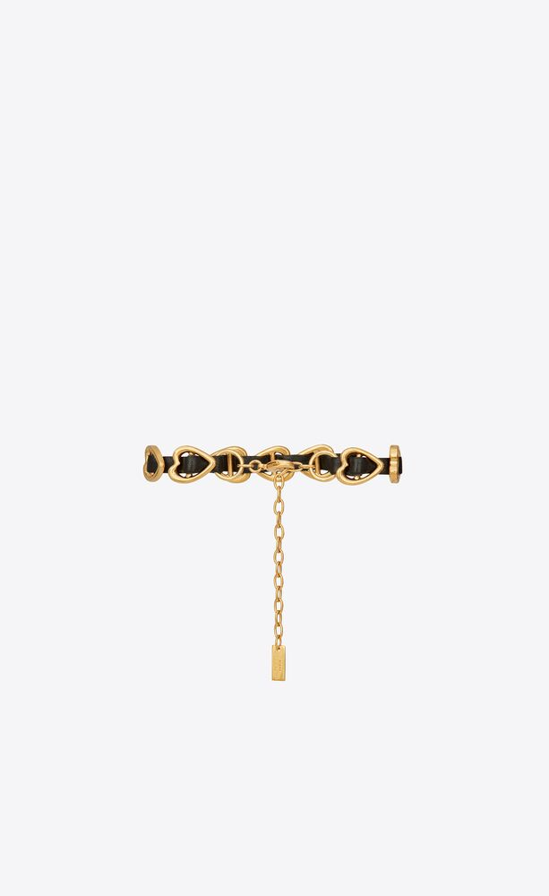 bracelet cœurs entrelacés en cuir lisse et métal