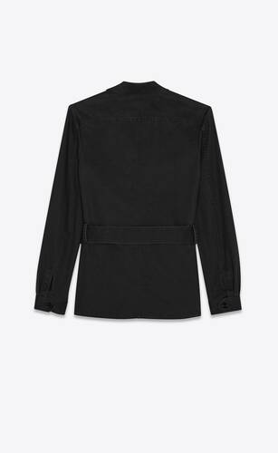 saharienne jacket in black cotton gabardine