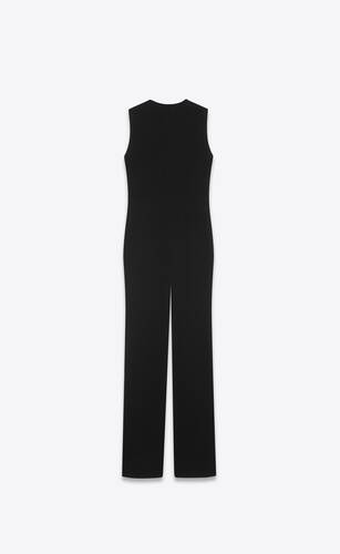 sleeveless jumpsuit in wool jersey