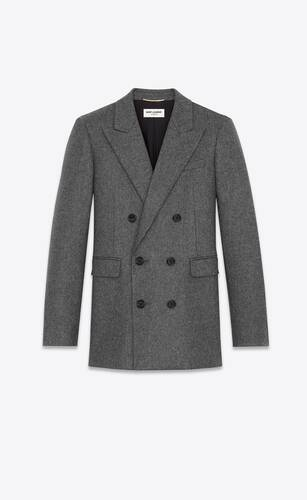 double-breasted blazer in saint laurent wool flannel