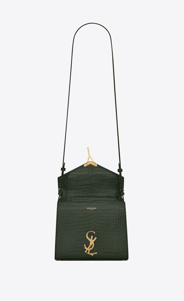 cassandra mini top handle bag in crocodile-embossed shiny leather