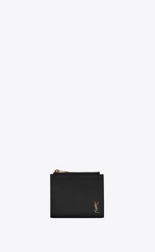 tiny monogram kartenetui mit reißverschluss aus genarbtem leder