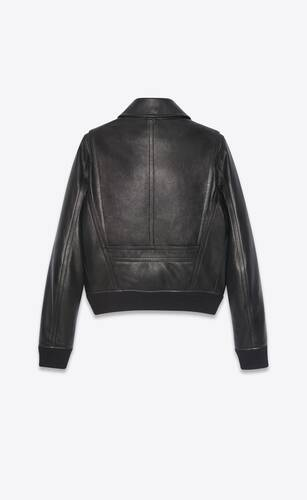 aviator bomber jacket in grained sheepskin with shearling collar