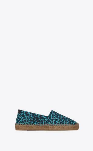 espadrilles mit saint laurent stickerei aus canvas mit herzförmigem leoparden-print