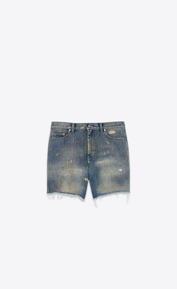 destroyed california shorts in repaired dirty blue denim
