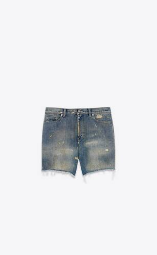 short californien destroy en denim repaired dirty blue