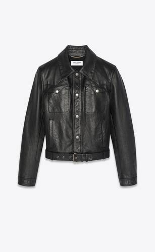 western-style jacket in aged leather