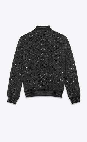 sequin-embroidered teddy jacket in twill bouclé