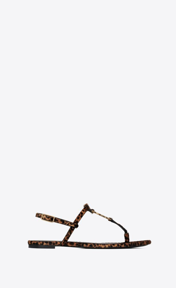cassandra flat sandals in leopard-print pony-effect leather with gold-tone monogram