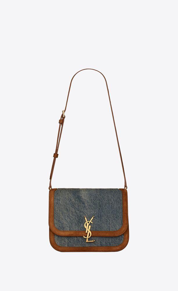 solferino medium satchel in vintage denim and suede