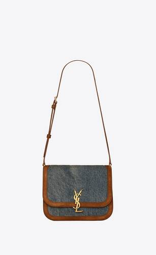 solferino medium satchel in vintage denim and suede