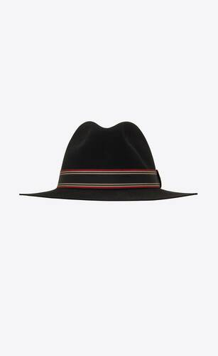 straw panama hat with contrasting striped canvas ribbon
