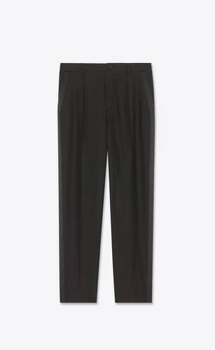 pleated tuxedo pants in wool twill