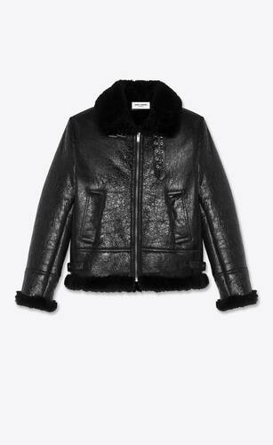 aviator jacket in sheepskin with shearling