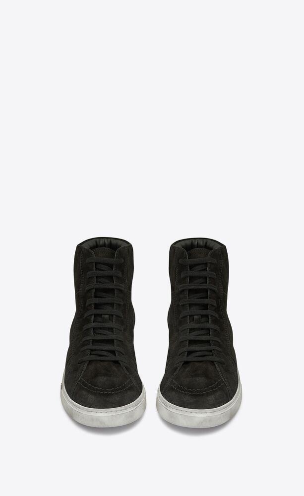 joe halbhoher sneaker aus schwarzem veloursleder