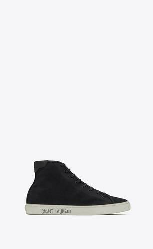 sneakers de media caña malibú de lona y piel