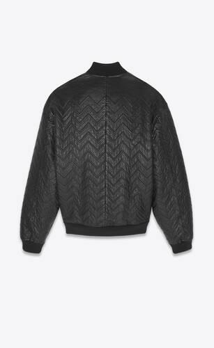 oversized bomber jacket in chevron leather