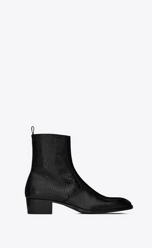 wyatt zipped boots in crocodile-embossed leather